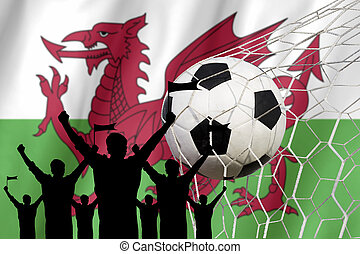 begriff, fans , .cheer, fahne, silhouetten, wales, fußball