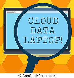 begriff, farbe foto, laptop., server, leer, vergrößern, wolke, tablette, schreibende, text, vergrößern, voll, schirm, internet, space., glas, bedeutung, verbunden, daten, datacenter, handschrift