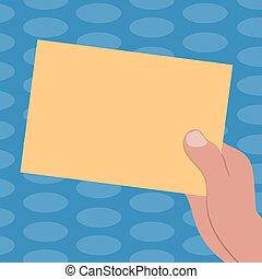 begriff, farbe, text, fördernd, papier, design, leer, web, kopie, schablone, gezeichnet, verhöhnen, besitz, geschaeftswelt, material, leerer , hu, pappe, auf, analyse, vektor, präsentieren, hand, banner