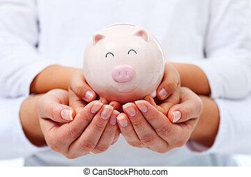 begriff, finanziell, kind, -, erwachsener, halten hände, lächeln, bildung, bank, schweinchen