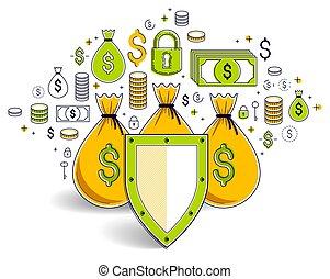 begriff, finanziell, kredite, design., deponieren, spareinlagen, geldtaschen, bankwesen, versicherung, aus, idee, geschaeftswelt, sicher, schutz, vektor, schutzschirm, investitionen