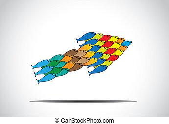 begriff, fische, form, schließen, einheit, gruppe, arbeitende , -, upword, gemeinschaftsarbeit, fortschritt, richtung, bunte, abbildung, führung, bewegen, fische, stricken, muticolored, auf, zusammen, pfeil, mannschaft, machen, art.