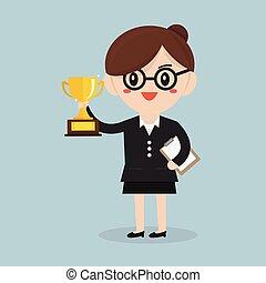 begriff, frauenunternehmen, besitz, trophy.