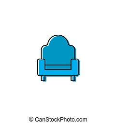 begriff, freigestellt, sofa, couch, vektor, hintergrund, weißes, ikone