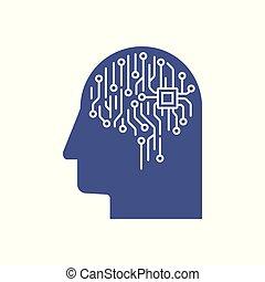 begriff, gehirn, ai, intelligenz, abstrakt, abbildung, künstlich, profil, brett, stromkreis, elektronisch