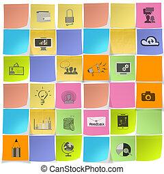 begriff, geschäfts-ikon, strategie, merkzettel, hand, gezeichnet, klebrig