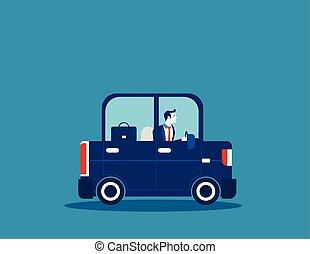 begriff, geschäftsmann, vektor, transport., illustration., fahren, geschaeftswelt, auto.