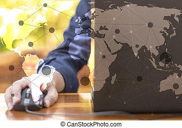 begriff, geschaeftswelt, arbeitende , modern, hand, edv, geschäftsmann, neu , strategie