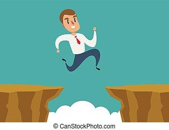 begriff, geschaeftswelt, aus, lücke, springen, difficulty., geschäftsmann, überwinden, felsformation