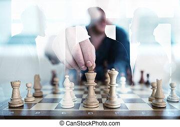 begriff, geschaeftswelt, büro., arbeit, partnerschaft, spiel, zusammen, gemeinschaftsarbeit, strategy., geschäftsmänner, schach, taktik, doppelte belichtung