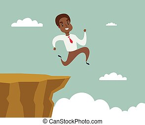 begriff, geschaeftswelt, erfolg, aus, amerikanische , lücke, springen, rennender , schwarz, schwierigkeit, afrikanisch, geschäftsmann, überwinden, felsformation