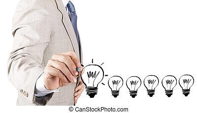 begriff, geschaeftswelt, licht, idee, hand, zwiebel, zeichnung, mann