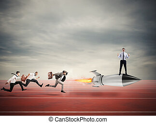 begriff, geschaeftswelt, rocket., aus, gewinner, schnell, konkurrenz, geschäftsmann