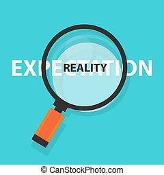 begriff, geschaeftswelt, symbol, erwartung, analyse, wirklichkeit, glas, vs, vergrößern