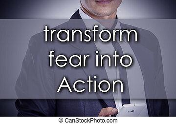 begriff, geschaeftswelt, text, -, umformen, junger, aktiv, geschäftsmann, fürchten