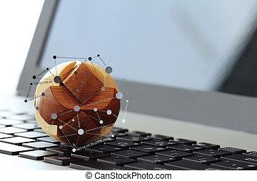 begriff, hölzern, medien, erdball, sozial, beschaffenheit, diagramm, edv, internet, laptop