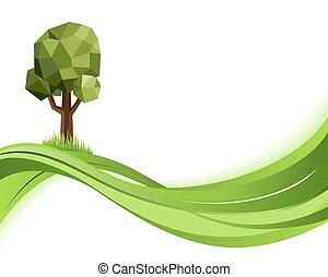 begriff, illustration., copyspace, natur, eco, abstrakt, hintergrund., vektor, grün