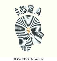 begriff, illustration., idee, abbildung, human., form, vektor, hintergrund, labyrinth, weißes