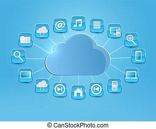 begriff, illustration., rechnen, icons., vektor, hintergrund, wolke