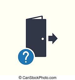 begriff, info, mark., notfall, frage, wie, ausgang, hilfe, zu, räumung, entweichen, ikone, frage, symbol, ikone