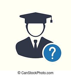 begriff, info, schueler, mark., frage, wie, hilfe, zu, ikone, frage, bildung, symbol, ikone