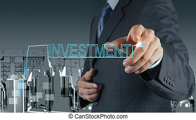 begriff, investition, geschäftsmann, zeigen