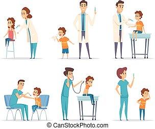 begriff, kinder, vaccinating., doktor, medizin, vektor, healthcare, illustrationen, spritze, gibt, karikatur, childrens