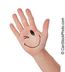begriff, kommunikation, smiley, freigestellt, hand, weißes