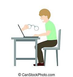 begriff, kopie, besitz, raum, farbe, laptop, idee, cyber, freigestellt, hintergrund, handschelle, abbildung, opfer, internet, hand, weißes, verbrechen, mann