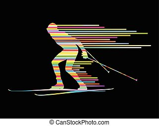 begriff, land, kreuz, vektor, hintergrund, ski fahrend