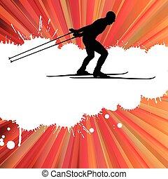 begriff, land, kreuz, vektor, hintergrund, ski fahrend, mann