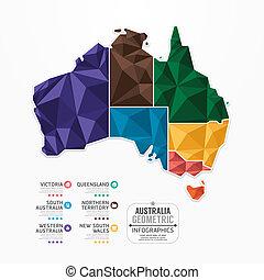 begriff, landkarte, australia, banner., abbildung, infographic, vektor, schablone, geometrisch