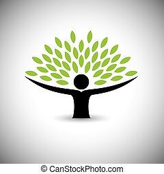 begriff, lebensstil, leute, eco, -, natur, baum, vector., umarmen, oder