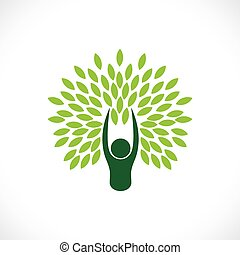 begriff, lebensstil, natur, eco, baum, -, person, vector.