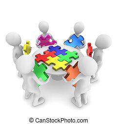 begriff, leute, puzzle, gemeinschaftsarbeit, 3d