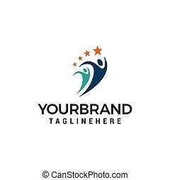 begriff, leute, vektor, design, schablone, logo, sport