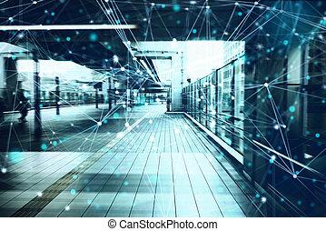 begriff, licht, vernetzung, architektur, effekte, kommunikation, technology., modern
