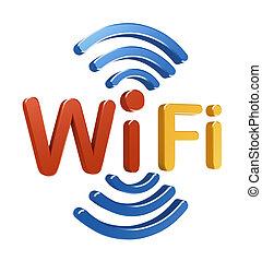 begriff, logo., 3d, wifi