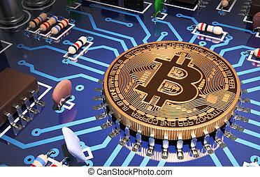 begriff, mögen, hauptplatine, bitcoin, edv, prozessor