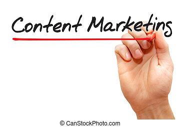 begriff, marketing, geschaeftswelt, schreibende, zufriedene , hand