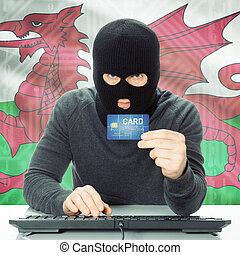 begriff, national, -, fahne, hintergrund, cybercrime, wales