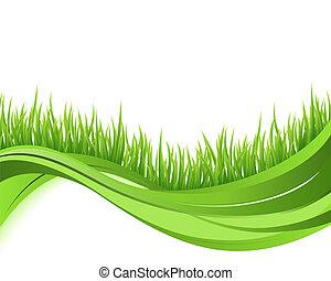 begriff, natur, eco, abbildung, welle, hintergrund., grünes gras