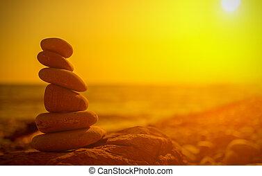 begriff, natur, steinen, harmony., sonnenuntergang, meer, gleichgewicht, kueste