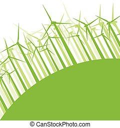 begriff, natur, turbinen, abbildung, bewegung, vektor, hintergrund, wind