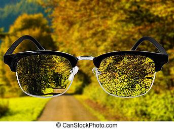 begriff, optisch, concept., glasses., gesundheitspflege,...