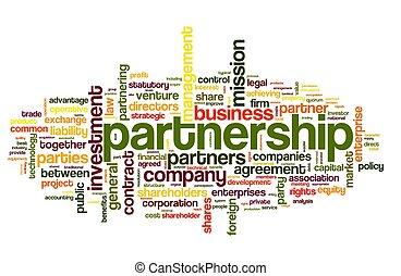begriff, partnerschaft, wolke, etikett