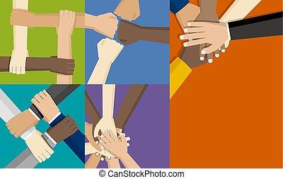 begriff, personengruppe, zusammen, ihr, vektor, setzen, abbildung, hände, design, gemeinschaftsarbeit