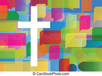 begriff, plakat, abstrakt, kreuz, abbildung, christentum,...