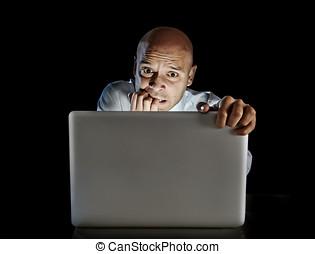 begriff, porno, laptop, aufpassen, edv, süchtiger, internet,...