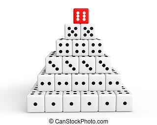 begriff, pyramide, würfelt, erfolg, 3d